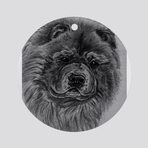 Chow Chow Dog Headstudy - Black Ornament (Round)