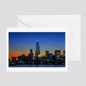 Chicago Framed In Sunset Greeting Card