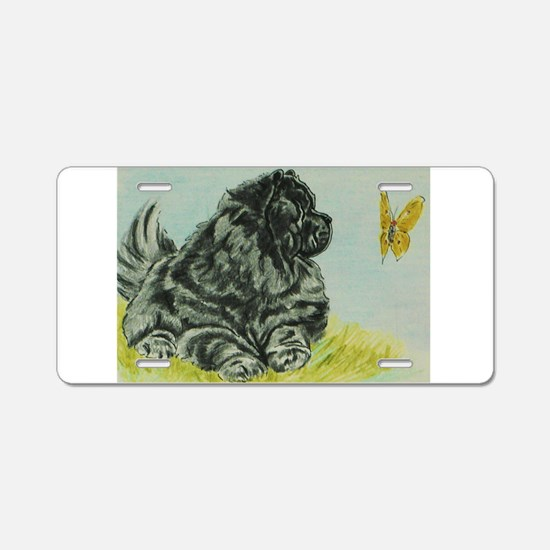 Chow Chow Dog with Butterfl Aluminum License Plate
