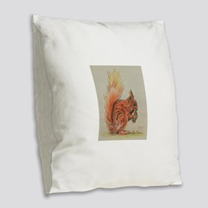Red Squirrel with Acorn Burlap Throw Pillow