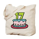 17 Year Old Birthday Cake Tote Bag