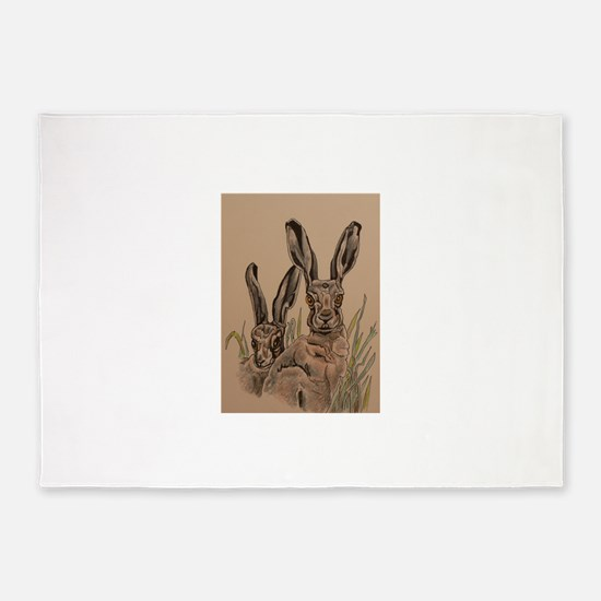 Two Hares 5'x7'Area Rug