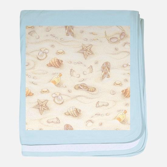 Vintage Summer Beach Pattern baby blanket