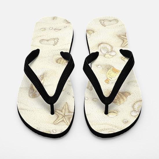 Vintage Summer Beach Pattern Flip Flops