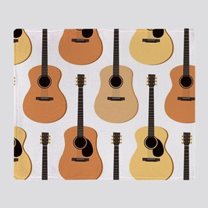 Acoustic Guitars Pattern Throw Blanket