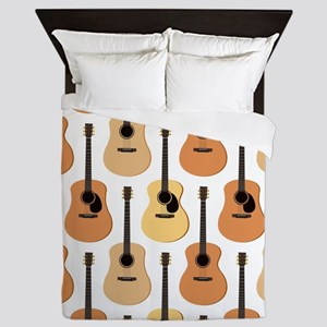 Acoustic Guitars Pattern Queen Duvet