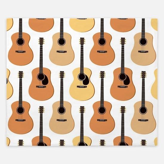 Acoustic Guitars Pattern King Duvet