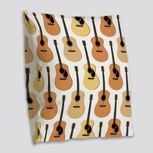 Acoustic Guitars Pattern Burlap Throw Pillow