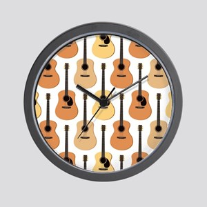 Acoustic Guitars Pattern Wall Clock