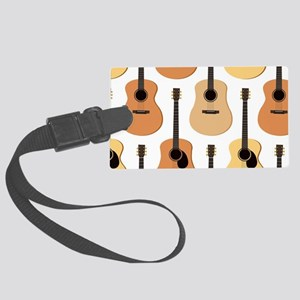 Acoustic Guitars Pattern Large Luggage Tag