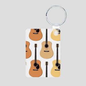 Acoustic Guitars Pattern Aluminum Photo Keychain