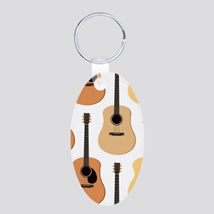 Acoustic Guitars Pattern Aluminum Oval Keychain