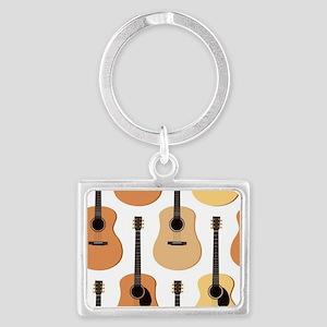 Acoustic Guitars Pattern Landscape Keychain