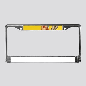 vintage yellow pin up 3 License Plate Frame