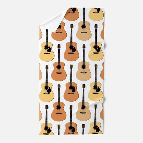 Acoustic Guitars Pattern Beach Towel