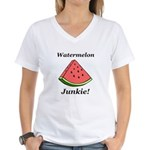 Watermelon Junkie Women's V-Neck T-Shirt