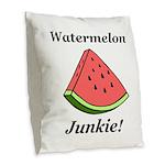 Watermelon Junkie Burlap Throw Pillow