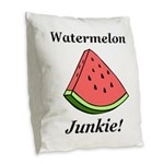 Watermelon Junkie Burlap Throw Pillow