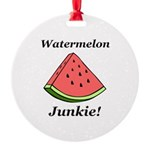 Watermelon Junkie Round Ornament
