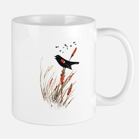 Watercolor Red Wing Blackbird Bird Nature Art Mugs
