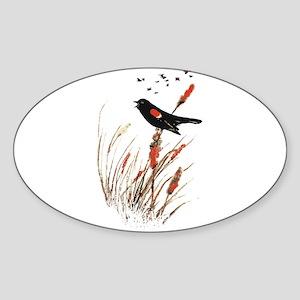 Watercolor Red Wing Blackbird Bird Nature Art Stic