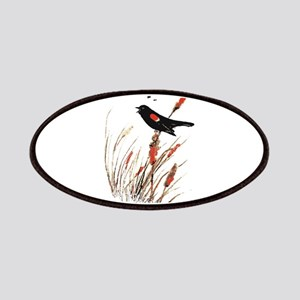 Watercolor Red Wing Blackbird Bird Nature Art Patc