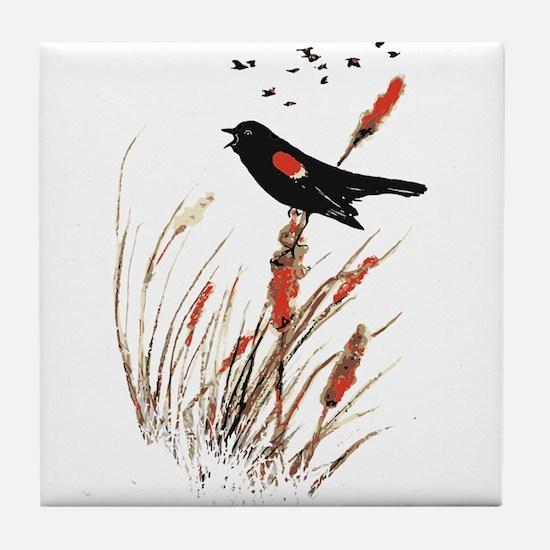 Watercolor Red Wing Blackbird Bird Nature Art Tile