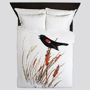 Watercolor Red Wing Blackbird Bird Nature Art Quee