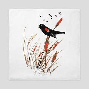 Watercolor Red Wing Blackbird Bird Nature Art Quee