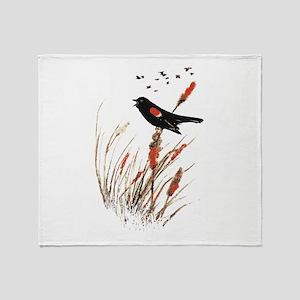 Watercolor Red Wing Blackbird Bird Nature Art Thro