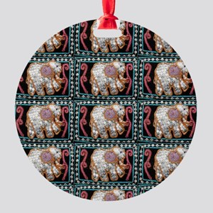 silver sequins elephants 2 Round Ornament