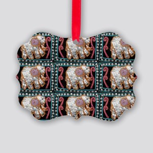 silver sequins elephants 2 Picture Ornament