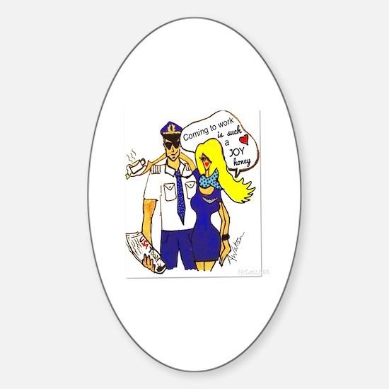 flight attendant Sticker (Oval)