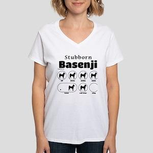 Stubborn Basenji 2 Women's V-Neck T-Shirt