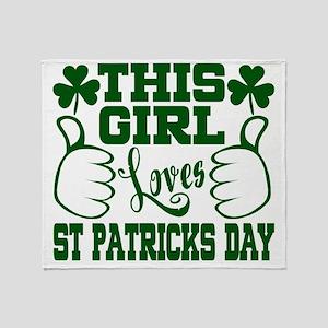 This Girl Loves St Patricks Day Throw Blanket