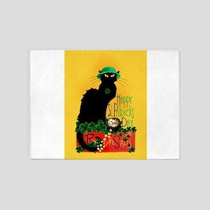 Chat Noir St Patricks Day 5'x7'Area Rug