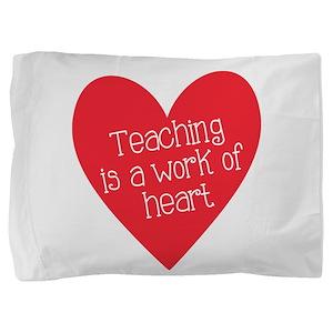 Red Teacher Heart Pillow Sham