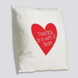 Red Teacher Heart Burlap Throw Pillow