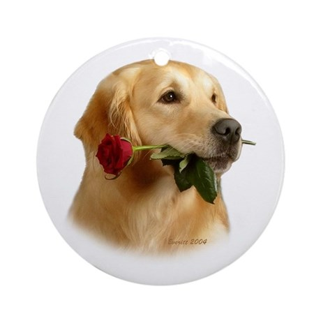 Golden Retriever (Male) and Red Ornament (Round)
