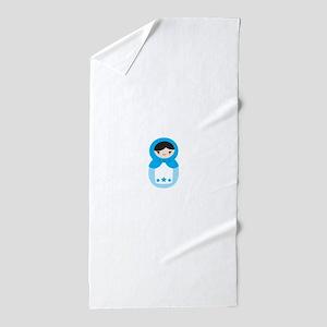 Matryoshka - Blue Beach Towel