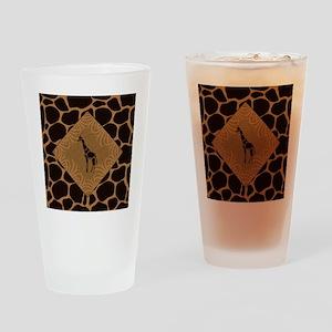 Giraffe with Animal Print Drinking Glass