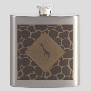 Giraffe with Animal Print Flask
