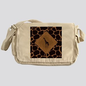 Giraffe with Animal Print Messenger Bag