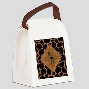 Giraffe with Animal Print Canvas Lunch Bag