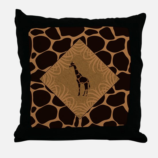 Giraffe with Animal Print Throw Pillow