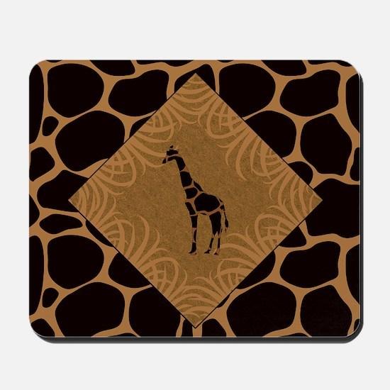 Giraffe with Animal Print Mousepad