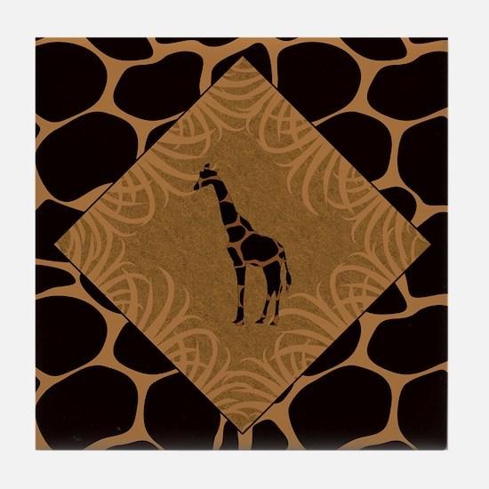 Giraffe with Animal Print Tile Coaster