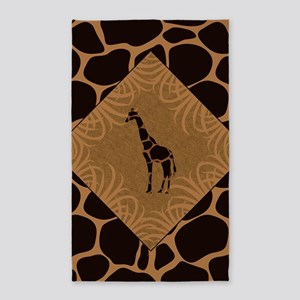 Giraffe with Animal Print Area Rug