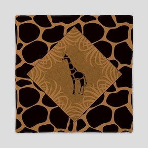 Giraffe with Animal Print Queen Duvet