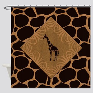 Giraffe With Animal Print Shower Curtain